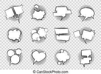 Comic Speech Bubbles. Cartoon chat balloon boom splash art empty white dialog bubble talk shape retro drawing. Vector comics bubbles