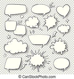 Comic speech bubbles. Cartoon comics talking and thought bubbles. Retro speech shapes vector set