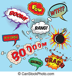 Comic speech bubbles design elements collection isolated...