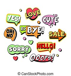 Comic speech bubbles for different emotions and sound...