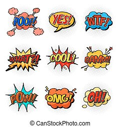 Comic speech bubbles for questions and explosion