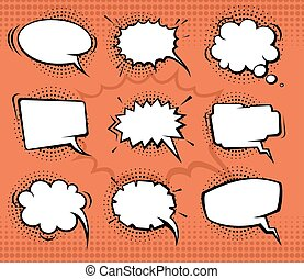 Comic speech bubbles, funny balloons with halftone shadows. Vector set