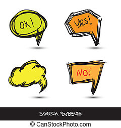 Comic Speech Bubbles. Hand drawn. Vector illustration.