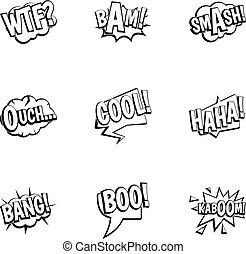 Comic speech bubbles icons set, outline style - Comic speech...