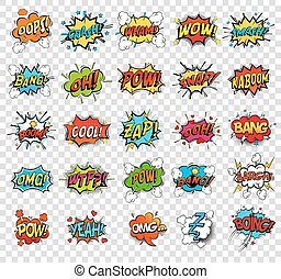 Comic speech bubbles or sound replicas for kaboom explosion,...