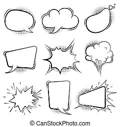 Comic speech bubbles. Retro cartoon balloon splashes shapes for book art vector template