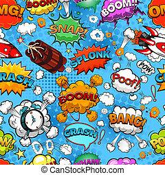 Comic speech bubbles seamless pattern on blue background vector illustration