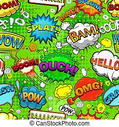 Comic speech bubbles seamless pattern on green background vector illustration