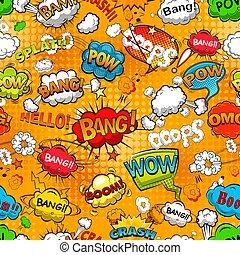 Comic speech bubbles seamless pattern on orange background. Vector illustration.