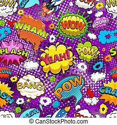 Comic speech bubbles seamless pattern on violet background vector illustration