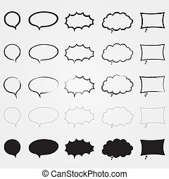Comic speech bubbles set. Different styles. Isolated elements.