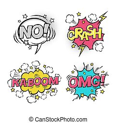 Comic speech bubbles set with different emotions and text KA-BOOM, OMG, NO, CRASH. Vector cartoon illustrations isolated on white background. Halftones, stars and other elements in separated layers.