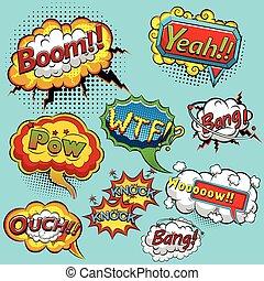 Comic speech bubbles.