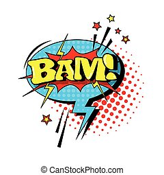 Comic Speech Chat Bubble Pop Art Style Bam Expression Text...