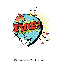 Comic Speech Chat Bubble Pop Art Style Fire Expression Text Icon
