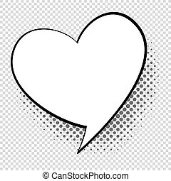Comic speech heart. Cartoon talking and thought about love bubble. Retro shape vector concept
