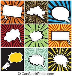 Comic Speech on striped background