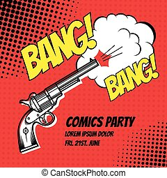 Comic strip - BANG. Vector poster comic strip style with ...