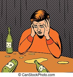 Comic strip man drunk vector illustration. Comic book...
