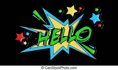 Comic strip speech bubble cartoon animation, with the message hello. Green text, yellow shape, alpha channel