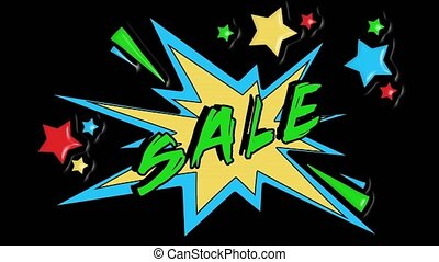Comic strip speech bubble cartoon animation, with the message sale. Green text, yellow shape, alpha channel