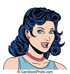 black hair woman smiling