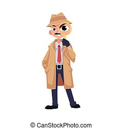 Comic style detective character looking through magnifying glass
