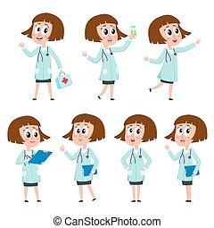 Comic style female, woman doctor character wearing white medical coat