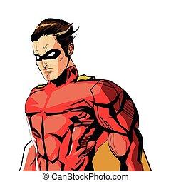 flat design comic style male superhero with red uniform icon vector illustration