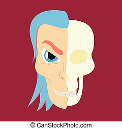 Comic stylized superhero skeleton face. Print flat illustration