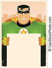 Comic Super Hero Holding Sign