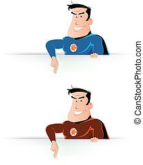 Comic Super Hero Pointing Sign - Illustration of cartoon...