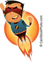 Illustration of a cartoon red and blue masked super hero character blasting off and flying straight forward
