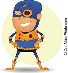 Comic Superhero With Golden Armor