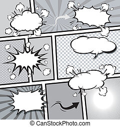 comic template Vector Pop-Art - Comic Speech Bubble...