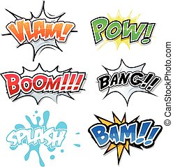 Comic Text, Bomb Explosions And Pop Art Style - Illustration...