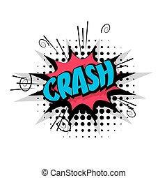 Comic text pop crash art bubble