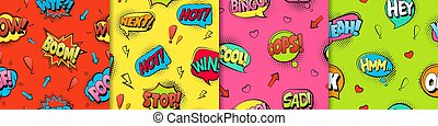 Comic text seamless pattern. Red retro cartoon style with blue phrases explosive fun in green vintage.