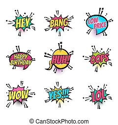 Comic text speech bubble pop art set