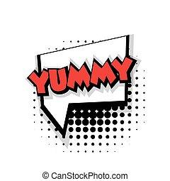 Comic text yummy sound effects pop art