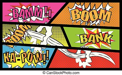 Comic Vector - Comic speech bubble set with text BOOM.BANK.BAMM.KA-PAW Vector cartoon explosions with different emotions isolated on white background. - 2019 vector Images