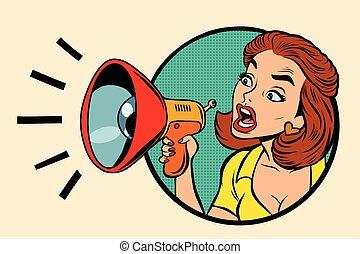 Comic woman agitator shouts into a megaphone, pop art retro...