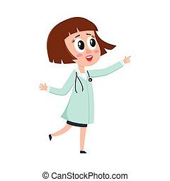 Comic woman doctor character wearing medical coat, pointing to something