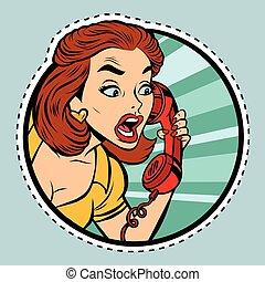 Comic woman talking on retro phone