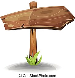 Comic Wooden Sign Arrow