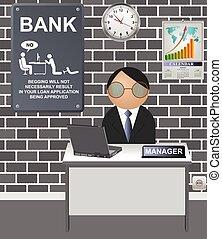 Comical bank manager