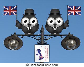 United Kingdom - Comical bird businessmen waving the flag...