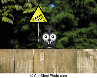 Government budget cuts - Comical bird warning against...