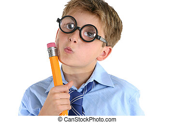 Comical boy holding a pencil and thinking