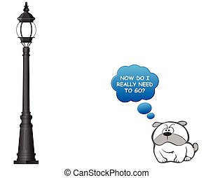 Comical dog and lamppost - Comical television dog pondering ...